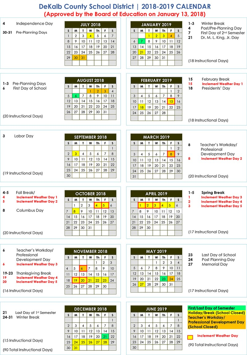 Dekalb School Calendar 2019 DeKalb County School Calendar 2018 2019   Baverman Real Estate