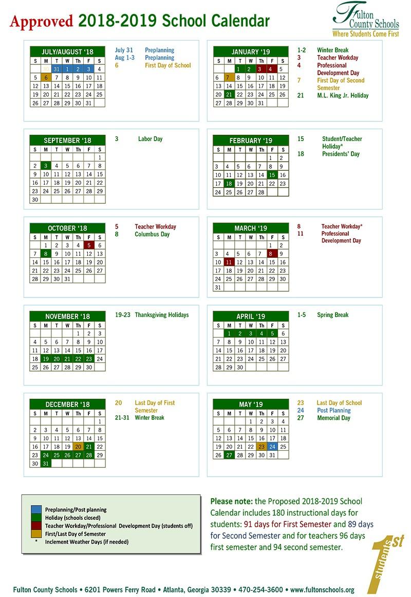 Fulton School Calendar 2019 Fulton County School Calendar 2018 2019   Baverman Real Estate